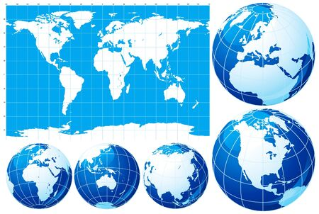 background antarctica: Set of World map  and five kinds of globe Illustration