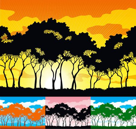 Four horizontal backgrounds with  silhouettes of trees on sky. Stock Vector - 9214357
