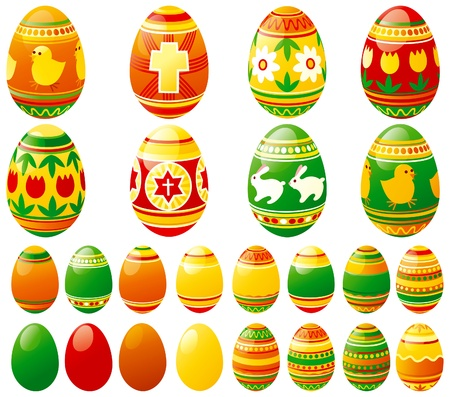 Vector set of  many colored easter eggs
