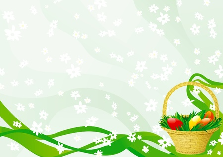 Easter basket on abstract green background with white flowers. Vector
