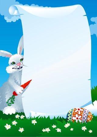 Funny easter rabbit, letter and egg at spring green landscape.
