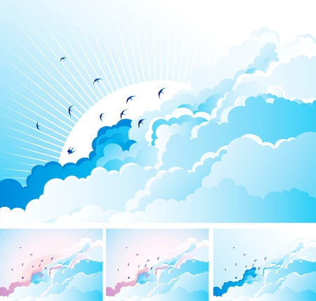 live feeling: blue background with flying Swallows on cloudy sky