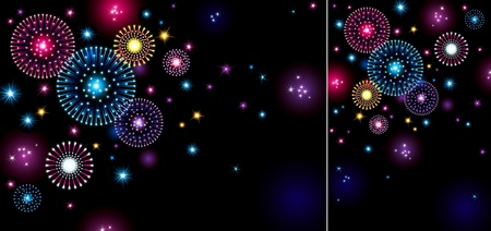 Horizontal and vertical holiday backgrounds with many stars and fireworks on night dark sky.