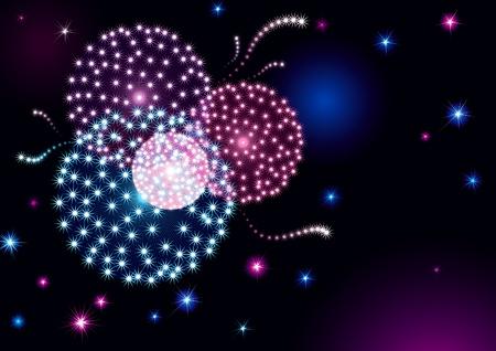 petardo: Fondo de vacaciones con muchas estrellas y fuegos artificiales en el cielo oscuro.