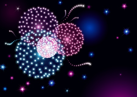holiday background with many stars and fireworks on night dark sky.