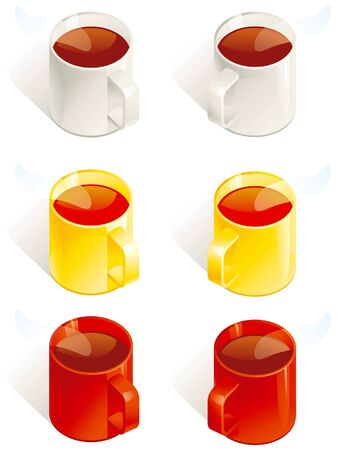 Six cups with coffee and tea. Stock Vector - 9540985