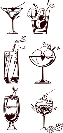 cold drink: Drinks and dessert. Set ilhouettes of drinks, glasses and desserts illustration