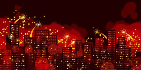 Holidays city. Vector background of Holiday firework in night city Vector