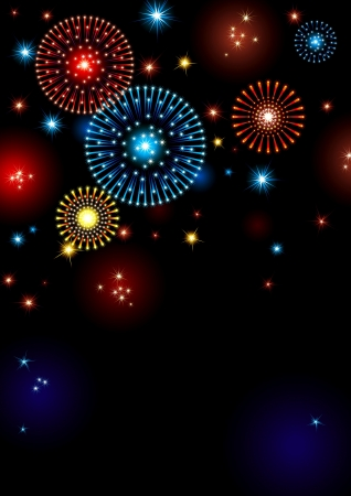 holiday fireworks. Vertical vector holiday background with many stars and fireworks on night dark sky. Vector