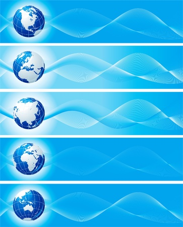 worldwide website: Set of blue banners with globe. Vector abstract  backgrounds with  six view of globes for internet banners