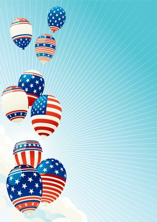 Fourth of july. illustration of many Patriotic  balloons on blue sky with clouds,  sun and sun beams Vector