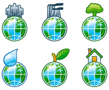 set of  computer shine icons for environment. People, factory, plant, tree, drop of water, leaf, house with globe. Stock Vector - 9932756