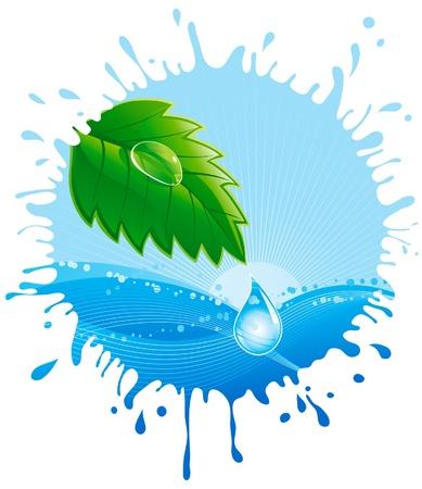 reflejo en el agua: Medio Ambiente. Hoja verde hierba con el roc�o y la gota de agua sobre fondo abstracto Vectores