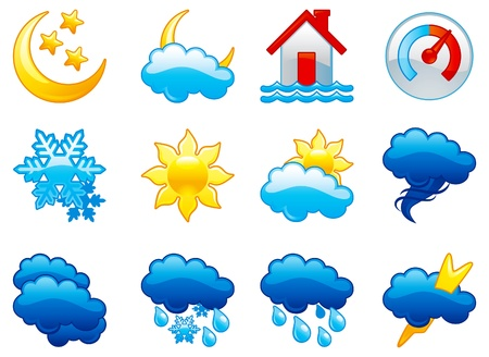 design bad: Set weather icons. Gglossy icons of  thunder, thunder-storm, cloudy, rain, snow, tornado, flooding, sun, cloudy