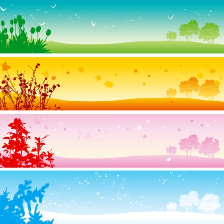 snow fall: Four seasons. Web banner of four seasons - summer, Autumn, spring and winter Landscape. Illustration