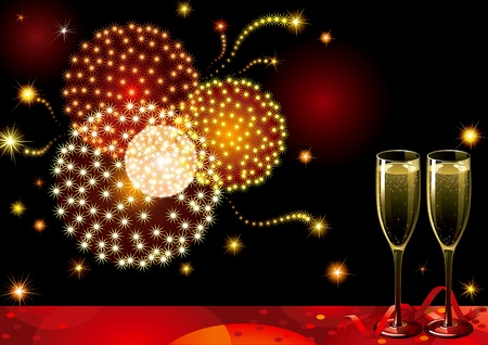 holiday background with two Champagne Flutes, many stars and fireworks on night dark sky.