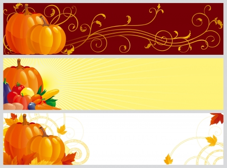gourds: Autumn banners. Three color banners with pumpkins, vegetables and leaves on abstract background for web design Illustration