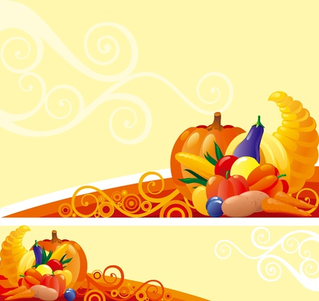 Horn of Plenty. Background and banner of Horn of Plenty with pumpkins and other vegetables on abstract background Vector