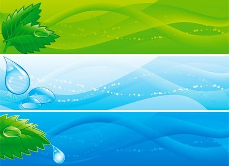 conjunto de coloridas pancartas con hojas y gotas de agua Ilustración de vector