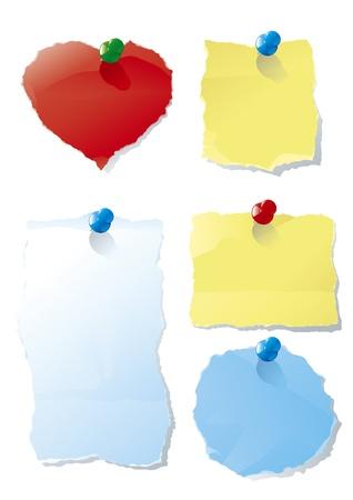 acolchado: Vector conjunto de espacios en blanco para la cartelera de la Oficina con tachuelas