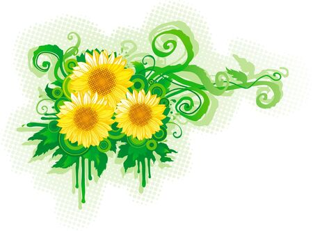 Three sunflowers on abstract grunge  background Stock Vector - 10395151