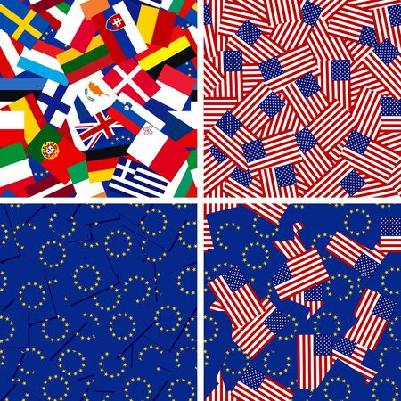 four vector seamless backgrounds with flags of European Union members and USA