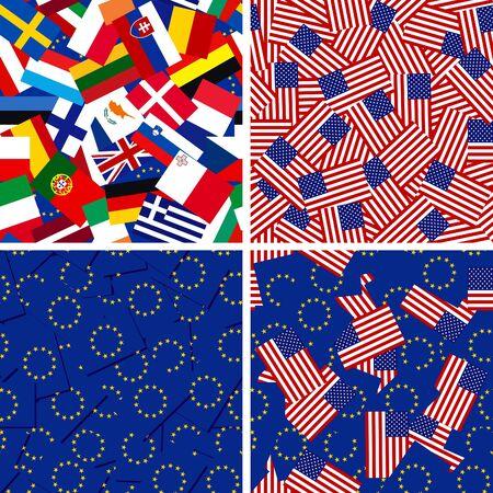 quatre milieux vecteurs sans soudure avec des drapeaux des membres de l'Union européenne et Etats-Unis