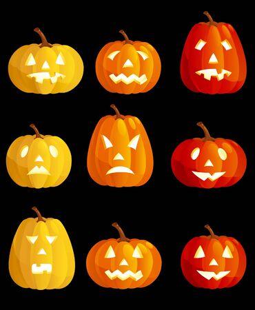 Halloween pumpkins. Vector set of many  various emotions at halloween pumpkins Vector
