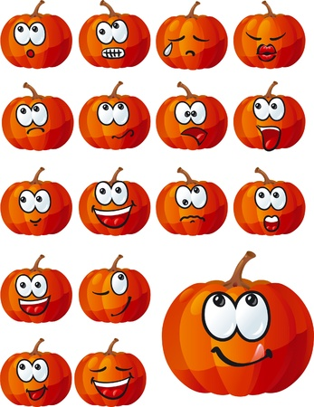 cute halloween: set of cute Halloween pumpkins Illustration
