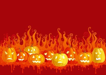 zucche halloween: Fuoco di Halloween. Incandescente zucche di halloween su sfondo astratto con fiamma. Vettoriali