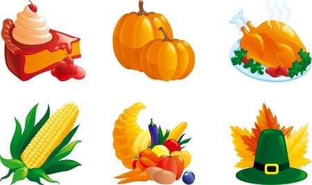 cuerno de la abundancia: conjunto de ilustraciones de acci�n de gracias