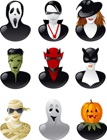 sneering: Set of  halloween avatars. Nine people in clothes of  halloween personages. Illustration