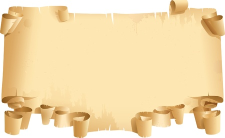 paper curl: Vintage blank. Old roll of Papyrus on white background Illustration