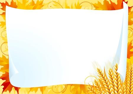 Horizontal en blanco vacía con planta de cereales amarillo sobre fondo ornamentado con rojo, amarillo y naranja Arce deja. Ilustración de vector