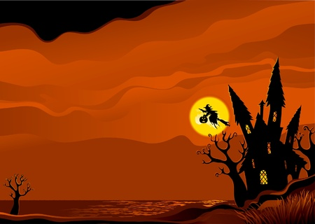 Halloween background. Witch flying on broom from her house.