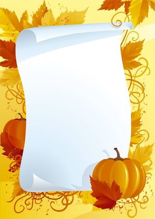 thanksgiving art: Vector illustration of  blank on background with autumn leaves and pumpkins Illustration