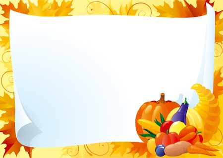 Horizontal card for thanksgiving . Empty blank with  Cornucopia and many Vegetables on ornate background with red, yellow and orange maple leaves. Illustration