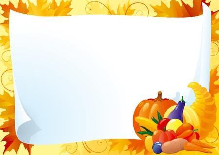 cuerno de la abundancia: Tarjeta horizontal de acci�n de gracias. Blanco vac�o con cuerno de la abundancia y muchas verduras sobre fondo ornamentado con rojo, amarillo y naranja Arce deja.