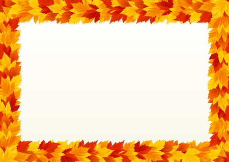 Vector background  with frame of Autumn maple leaves. Vector