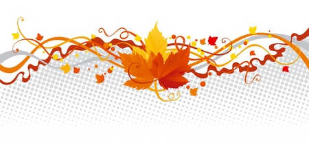 fall leaves on white: leaves border. Vector abstract border with Autumn leaves