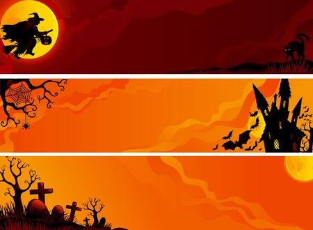 Three helloween banners with witch, bats, old house, moon, trees, graveyard, grave, grave stone.  Illustration