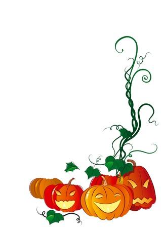 Happy Halloween. Vector illustration of  fun pumpkins lantern on a background.
