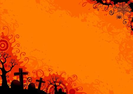 boom halloween: Halloween grunge achtergrond met bomen, kerkhof, graf, grafsteen, web-en spin.