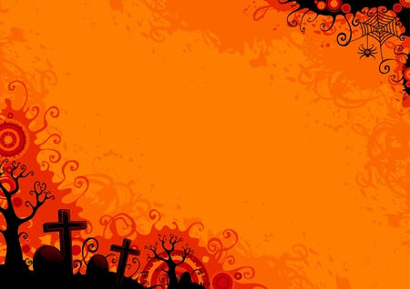 Halloween grunge background with  trees, graveyard, grave, grave stone, web and spider.