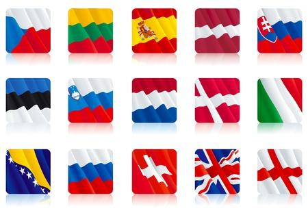 czech switzerland: Impostare icona - bandiere delle Nazioni europee (2)