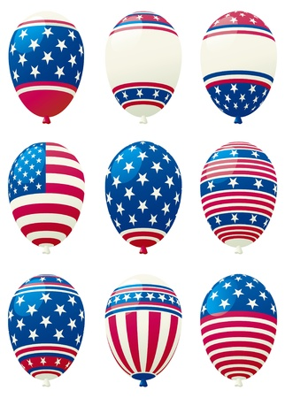 set of holiday balloons colored like american flag Stock Vector - 10487077