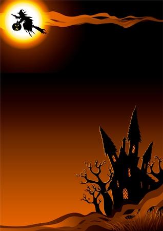 Noche de Halloween. Fondo vertical con volar bruja y su casa.