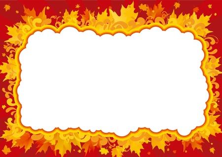 Autumn border. border with many maple leaves and ornate elements.  Stock Vector - 10510362