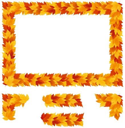 autumn season: Frame with Autumn maple leaves. Vector autumn frame with copy space and  four elements Illustration