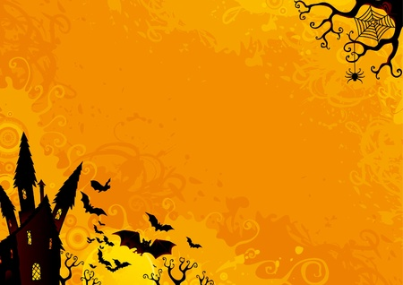 halloween backgrounds: Halloween Background. Halloween orange background with many flying  bats, old house, moon, trees.